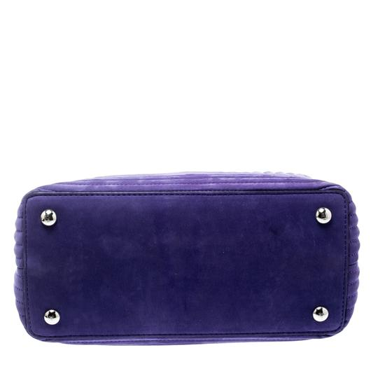 Fendi Leather Suede Quilted Purple Clutch Image 4