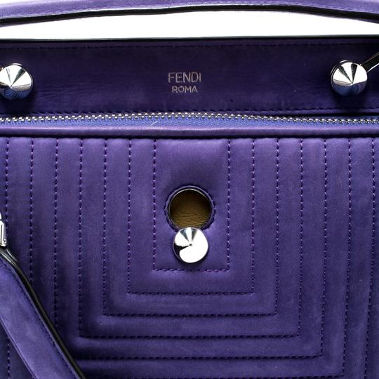 Fendi Leather Suede Quilted Purple Clutch Image 5