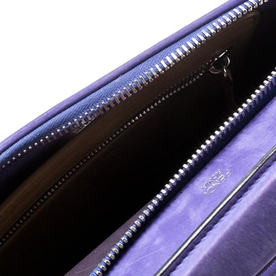 Fendi Leather Suede Quilted Purple Clutch Image 6