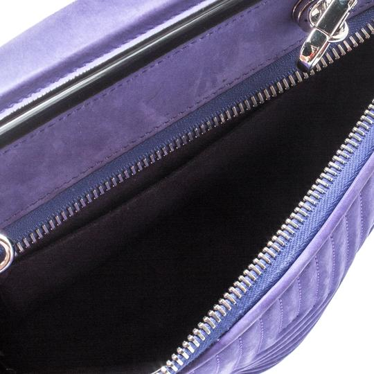 Fendi Leather Suede Quilted Purple Clutch Image 7