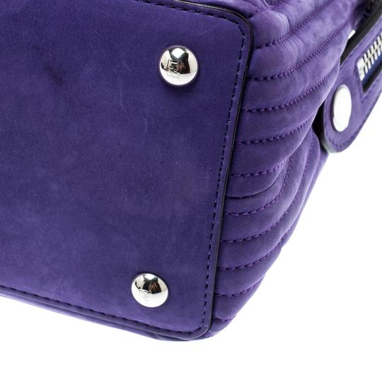 Fendi Leather Suede Quilted Purple Clutch Image 9