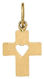 Apples of Gold SMALL CROSS PENDANT WITH CUT-OUT HEART IN 14K GOLD