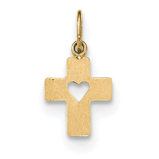 Apples of Gold SMALL CROSS PENDANT WITH CUT-OUT HEART IN 14K GOLD Image 2