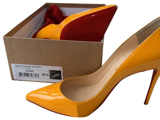 Preload https://img-static.tradesy.com/item/26242042/christian-louboutin-yellow-pigalle-follies-100-patent-y067-full-moon-pumps-size-eu-385-approx-us-85-0-1-540-540.jpg