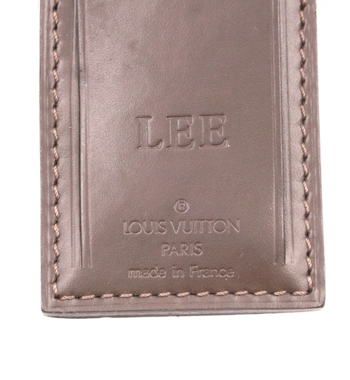 Louis Vuitton brown smooth calf Leather Luggage Tag keepall alma speedy Image 2