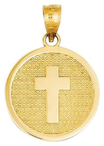 "Apples of Gold CROSS DISC CHARM PENDANT WITH ""GOD BLESS"" ON BACK"