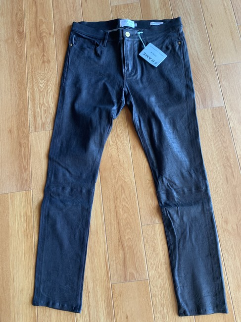 FRAME Leather Skinny Jeans-Coated Image 2