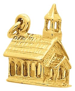 Apples of Gold 14K GOLD CHURCH CHARM PENDANT IN 3D