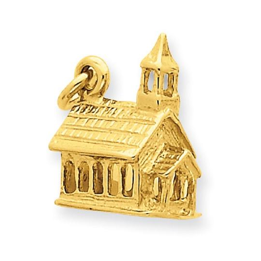 Apples of Gold 14K GOLD CHURCH CHARM PENDANT IN 3D Image 2