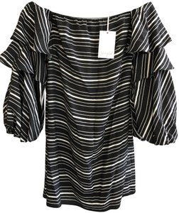 Scripted short dress Soft Black, White Usa Style#9589 New on Tradesy
