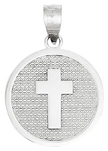 Apples of Gold 14K WHITE GOLD CROSS DISC CHARM PENDANT WITH
