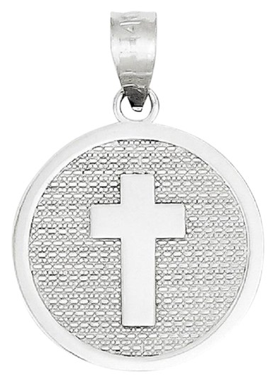 Preload https://img-static.tradesy.com/item/26242115/apples-of-gold-14k-white-cross-disc-charm-pendant-with-god-bless-necklace-0-1-540-540.jpg