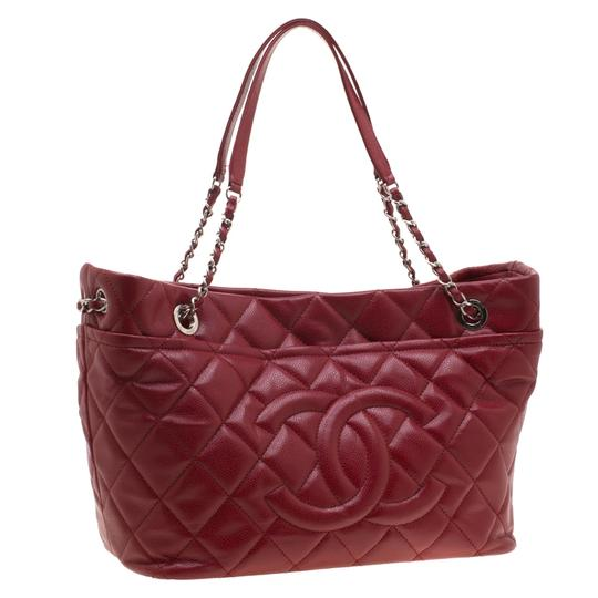 Chanel Leather Canvas Quilted Chain Tote in Red Image 1