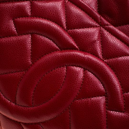 Chanel Leather Canvas Quilted Chain Tote in Red Image 4