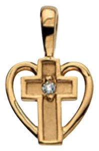 Apples of Gold SMALL DIAMOND HEART CROSS PENDANT, 14K GOLD