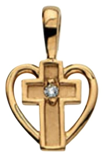 Preload https://img-static.tradesy.com/item/26242167/apples-of-gold-small-diamond-heart-cross-pendant-14k-necklace-0-1-540-540.jpg