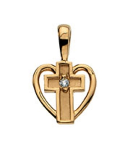 Apples of Gold SMALL DIAMOND HEART CROSS PENDANT, 14K GOLD Image 1