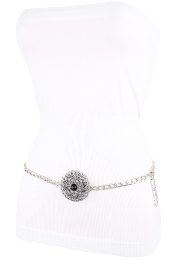 Alwaystyle4you Women Fashion Belt Silver Metal Flower Charm Buckle Size XS S M Image 6