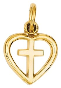 Apples of Gold LET NOT YOUR HEART BE TROUBLE CROSS CHARM PENDANT, 14K GOLD