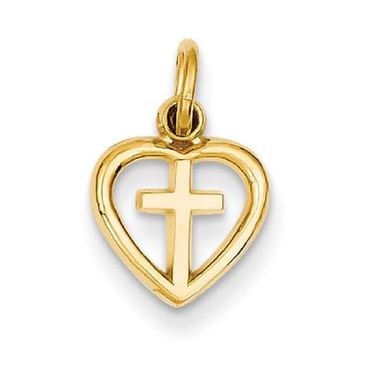 Apples of Gold LET NOT YOUR HEART BE TROUBLE CROSS CHARM PENDANT, 14K GOLD Image 1