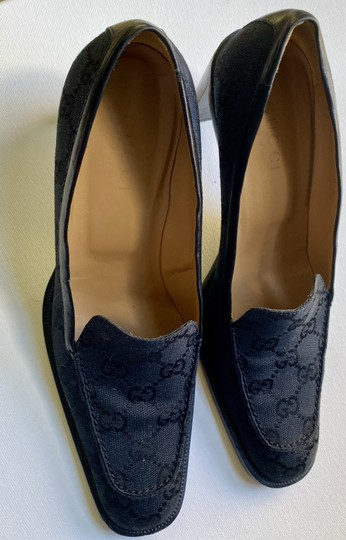 Gucci Canvas Leather Lined Good Condition Size 9 black Pumps Image 1