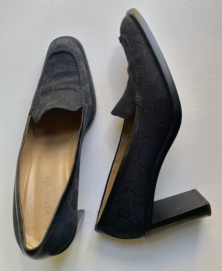 Gucci Canvas Leather Lined Good Condition Size 9 black Pumps Image 2