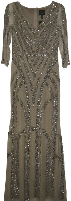 Preload https://img-static.tradesy.com/item/26242266/adrianna-papell-champagnesilver-champagnesilver-sequin-art-deco-with-34-sleeve-long-formal-dress-siz-0-3-650-650.jpg