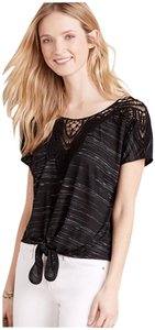 Anthropologie Everleigh Tie Front Embroid T Shirt Black