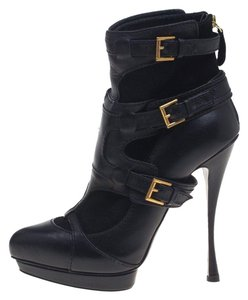 Alexander McQueen Leather Suede Detail Ankle Black Boots