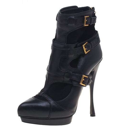 Alexander McQueen Leather Suede Detail Ankle Black Boots Image 1