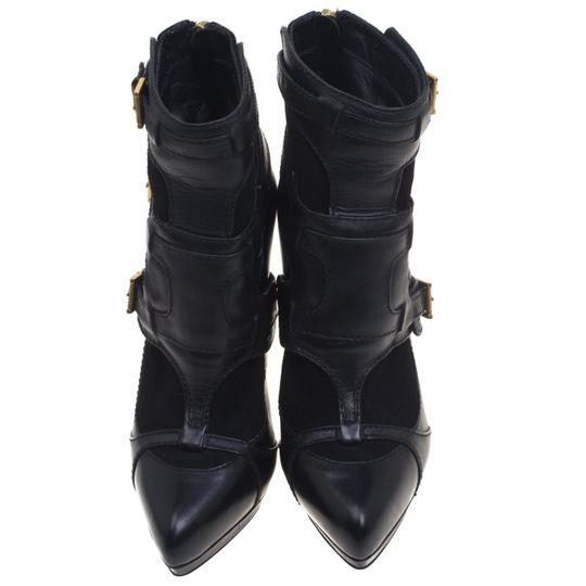 Alexander McQueen Leather Suede Detail Ankle Black Boots Image 2