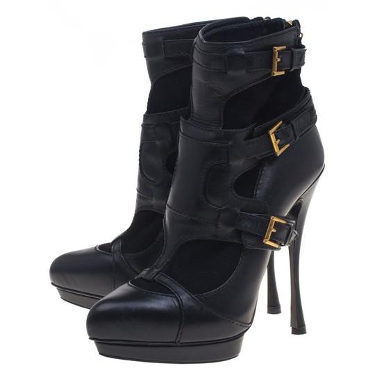 Alexander McQueen Leather Suede Detail Ankle Black Boots Image 4