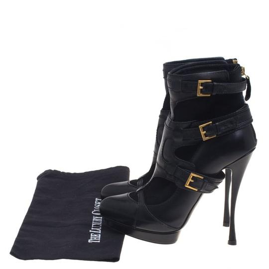 Alexander McQueen Leather Suede Detail Ankle Black Boots Image 7