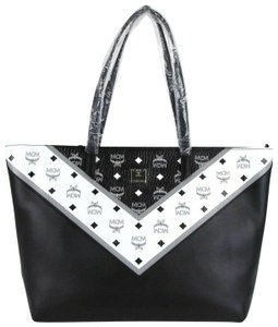 MCM Black/White Leather Coated Canvas Medium Tote in Black/White