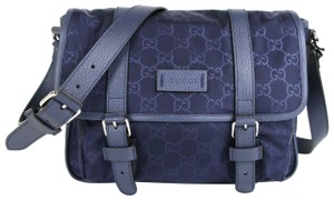 Gucci Unisex Monogram Gg Nylon Dark Blue Messenger Bag