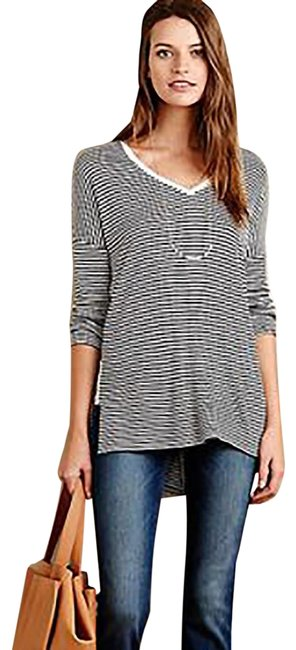 Item - Black and White Anthro Bordeaux High/Low Striped V-neck Tunic Size 4 (S)