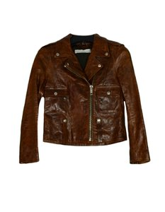 Golden Goose Deluxe Brand Distressed Brown Leather Jacket