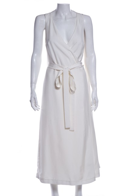 Item - Off White Wrap Mid-length Cocktail Dress Size 2 (XS)