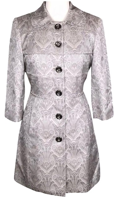 Etcetera Silver/Gray Jacquard Front Button Down Coat Size 6 (S) Etcetera Silver/Gray Jacquard Front Button Down Coat Size 6 (S) Image 1