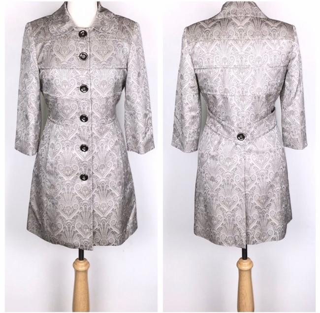 Etcetera Silver/Gray Jacquard Front Button Down Coat Size 6 (S) Etcetera Silver/Gray Jacquard Front Button Down Coat Size 6 (S) Image 2