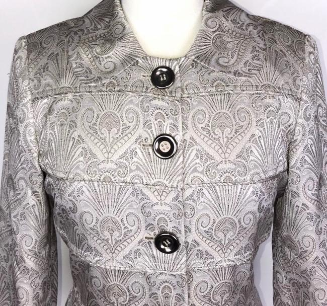 Etcetera Silver/Gray Jacquard Front Button Down Coat Size 6 (S) Etcetera Silver/Gray Jacquard Front Button Down Coat Size 6 (S) Image 4