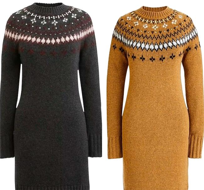 Item - Gray Jewel Embellished Fair Isle Crewneck Sweater Mid-length Night Out Dress Size 4 (S)