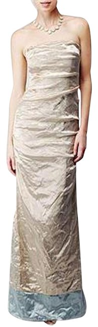 Item - Light Gold/ Light Blue Strapless Stretch Metal Gown Style Cq0027 Long Formal Dress Size 2 (XS)