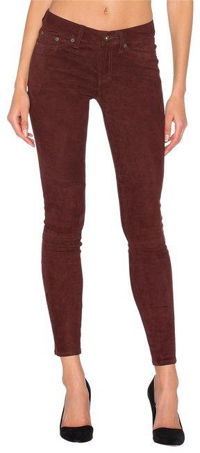 Item - Burgundy Dark Rinse Port Stretch Suede Leather Supple Skinny Jeans Size 27 (4, S)