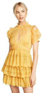 Item - Mustard Embroidered Chiffon Tiered Night Out Dress