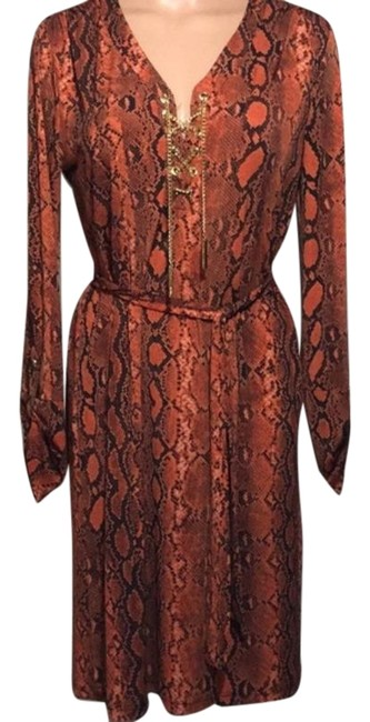Item - Orange Black Snakeskin Print Dress~gold Chain Mid-length Night Out Dress Size 8 (M)