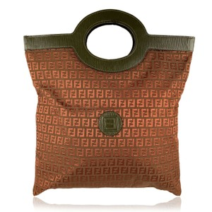 Fendi Rare Early Porthole Tote/Clutch Zucchino Print Mint Condition Burgundy/Olive Tote in burgundy and olive green