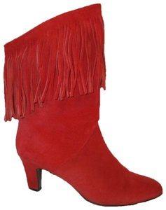 Pazzo Suede Fringed Mid Calf Western Oneam001 red Boots