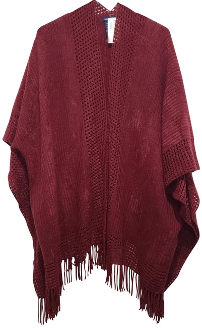 Item - Poncho Cardigan In Color (One Size Fits All) Burgandy Sweater