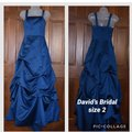 David's Bridal Blue Ball Gown Traditional Bridesmaid/Mob Dress Size 2 (XS)